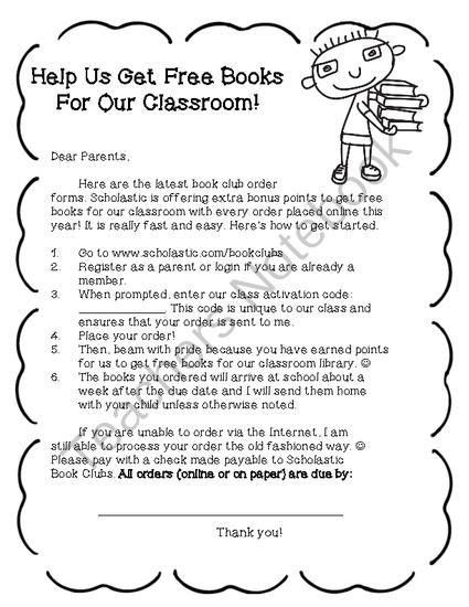 Scholastic Book Club Cover Letter- FREE! from Chrissie Rissmiller ...