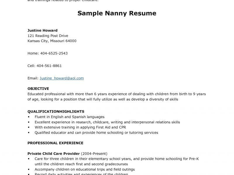 Nanny Resume Example. Stunning Design Ideas Nanny Resume Template ...