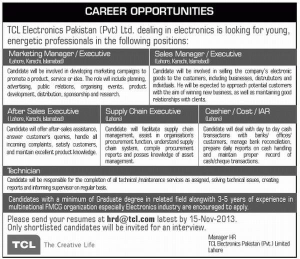 Supply Chain Executive Job, TCL Electronics Job in Pakistan ...