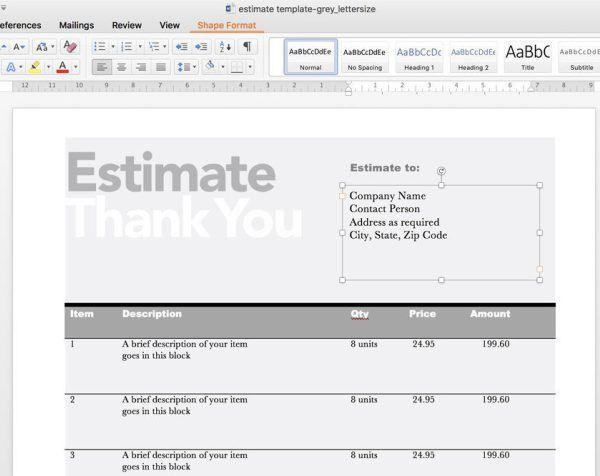 Editable Invoice & Estimate Template | Rumble Design Store
