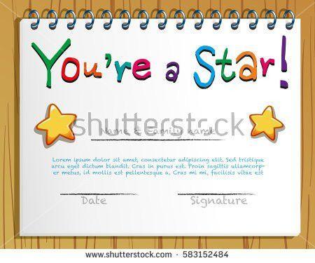 Template Child Certificate Be Awarded Kindergarten Stock Vector ...