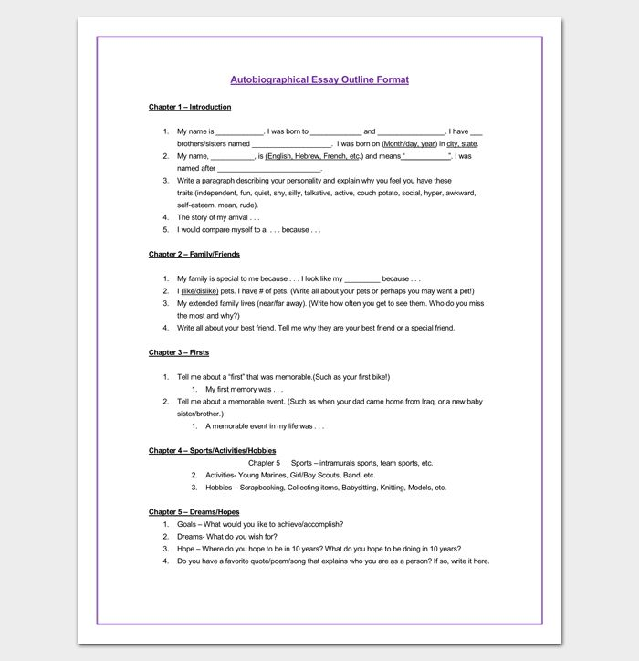 28+ Autobiography Essay Template | Autobiographical Essay Format ...