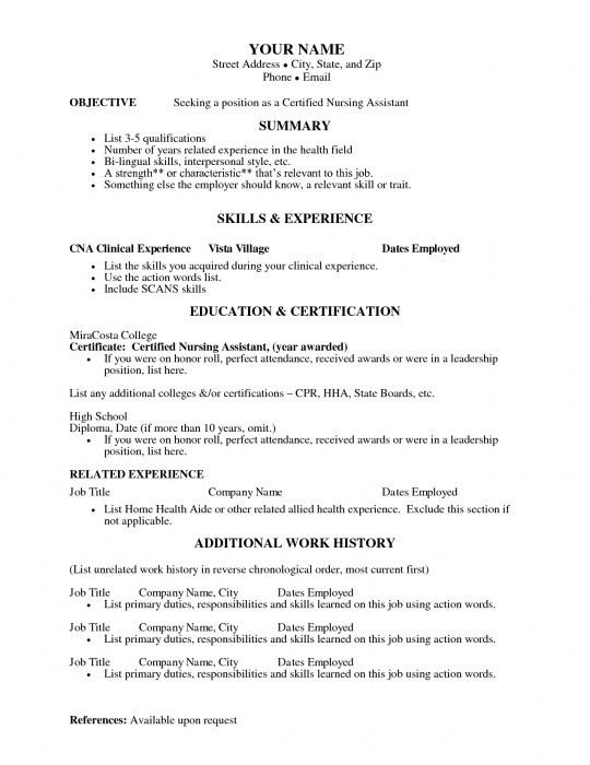 job resume cna resume templates sample cna resume objectives cna ...