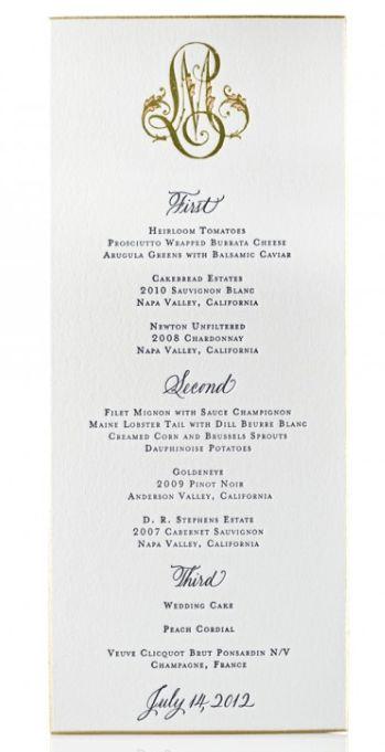 In Good Taste: Formal Dinner Menu Card Etiquette