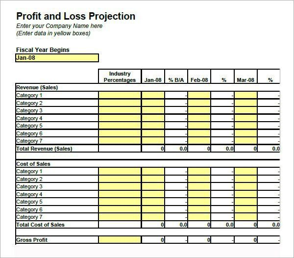 Simple Profit And Loss Template | Template Design