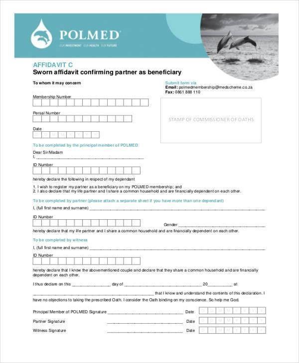 Affidavit Form Template