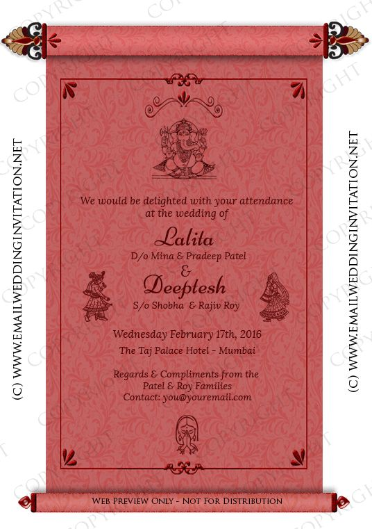 Single Page Indian Wedding e-Card Template 19 - Ornate Scroll ...