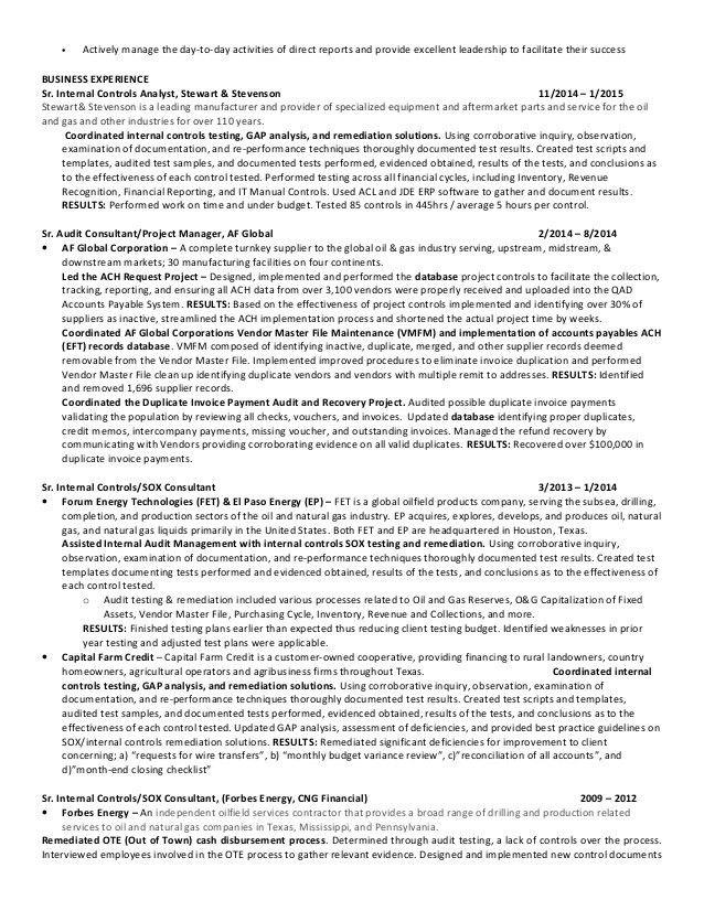 Senior Internal Controls Analyst   Auditor   Houston TX   Resume