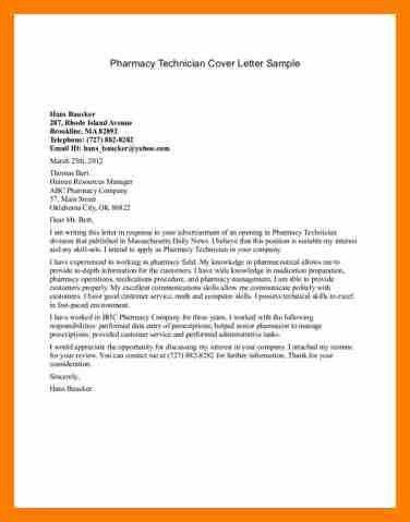 Pharmacy Technician Letter. Pharmacy Technician Cover Letter ...