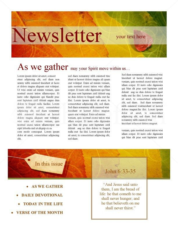 Newsletter Design For Fall Template   Newsletter Templates