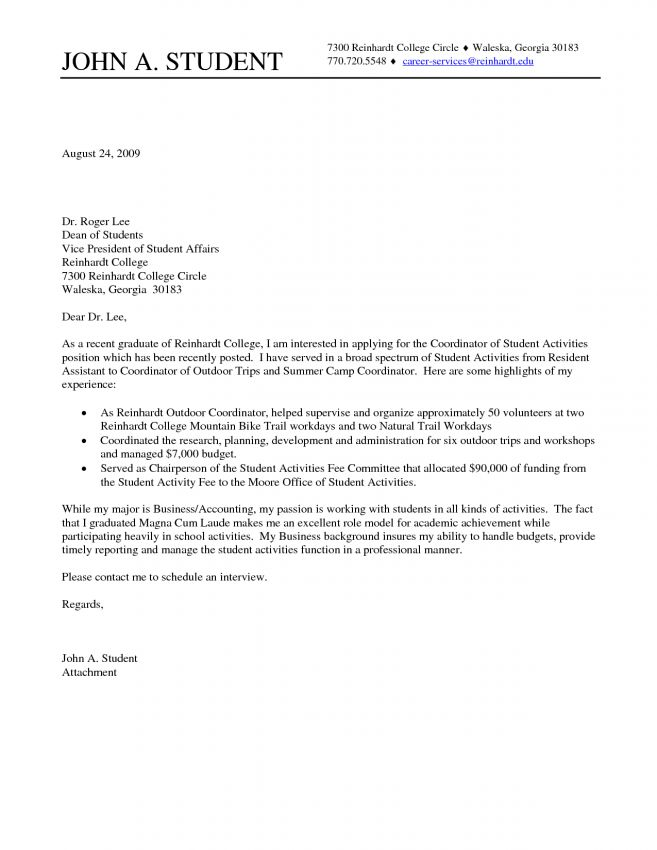 student cover letter example. cover letter sample college student ...