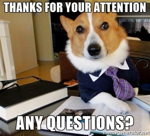 Thanks for your attention Any questions? - Dog Lawyer | Meme Generator