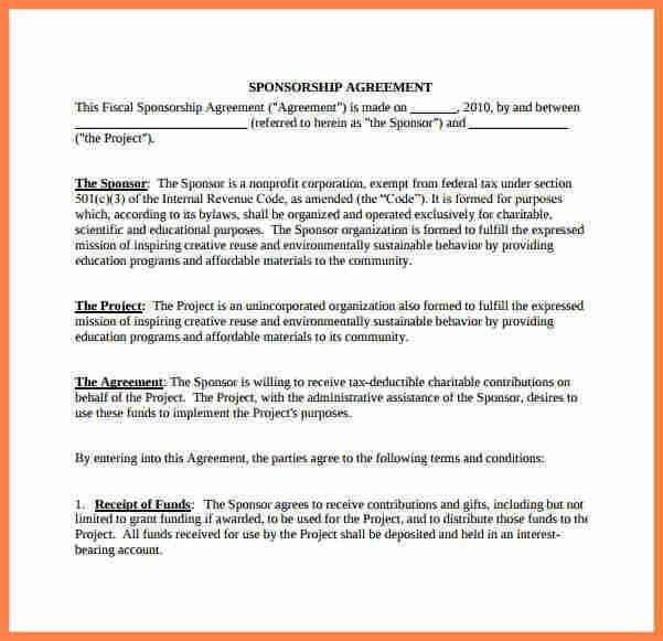 9+ non profit sponsorship agreement template   Purchase Agreement ...