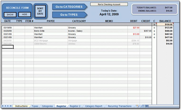 Excel Check Register @ Moneyspot.org