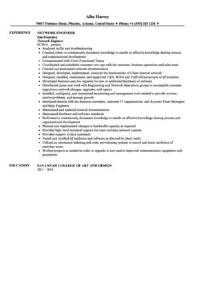 Network Engineer Resume Sample | Velvet Jobs