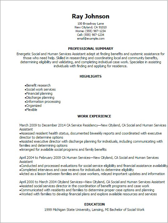 Professional Social And Human Services Assistant Resume Templates ...