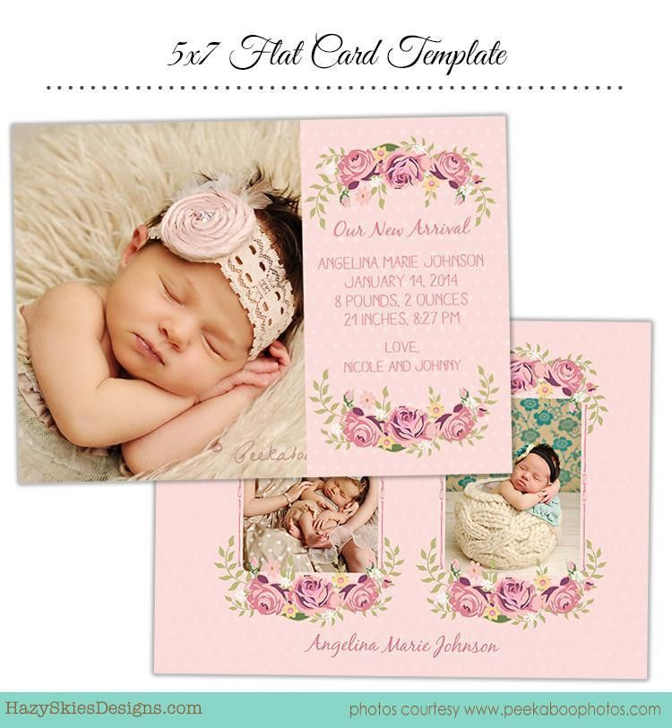 Birth Announcement Template | Precious & Pink – Photoshop ...