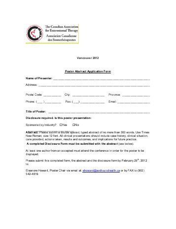application form for the Student Poster/Presentation Competition