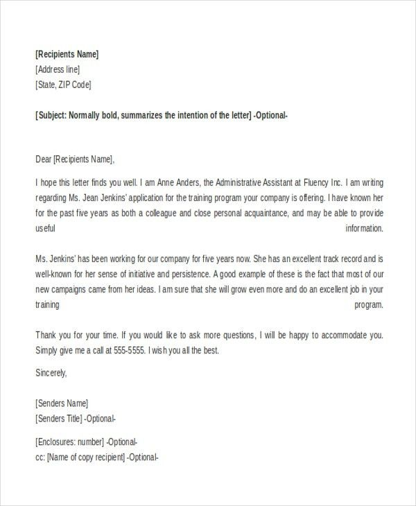 Reference Letter Sample - 10+ Free Documents in word, PDF