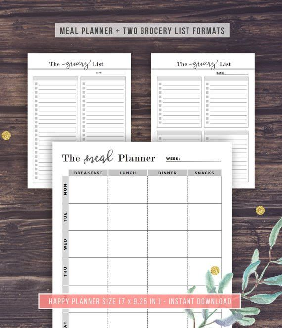 The Happy Planner Inserts Printable Meal Planner Grocery
