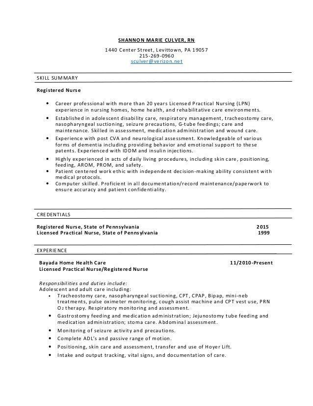 SHANNON MARIE CULVER, RN resume