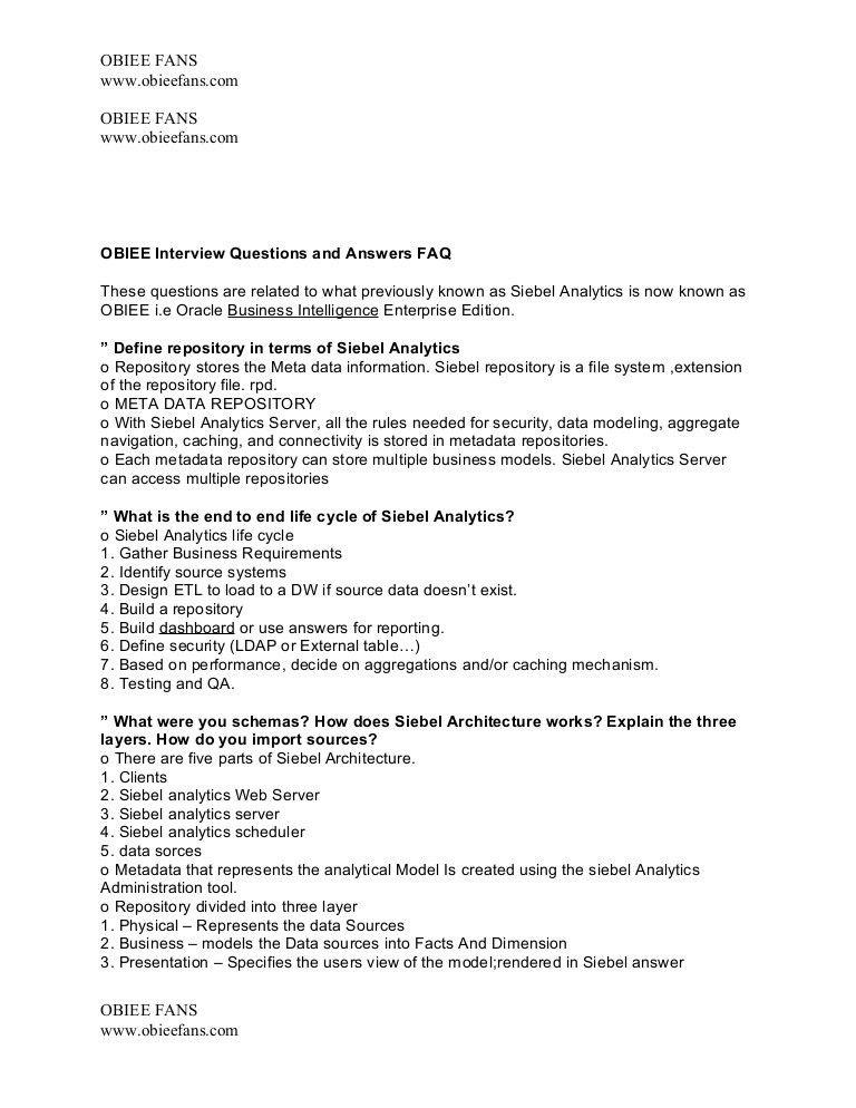 Obiee Testing Sample Resume - Contegri.com