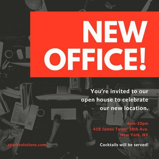 Red Black New Office Open House Invitation - Templates by Canva