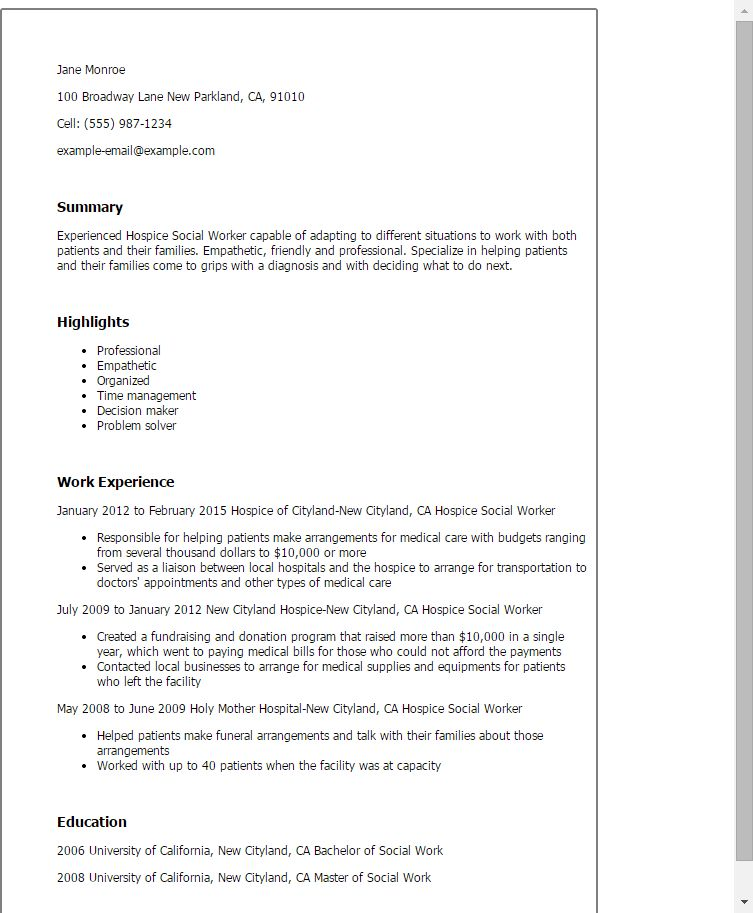 Professional Hospice Social Worker Templates to Showcase Your ...