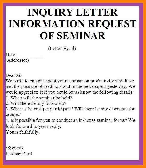 Enquiry Letter Format [Template.billybullock.us ]