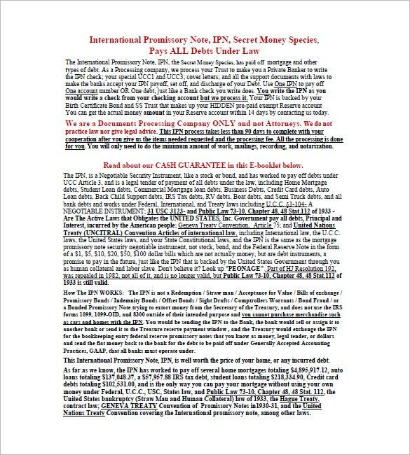 International Promissory Note – 8+ Free Word, Excel, PDF Format ...