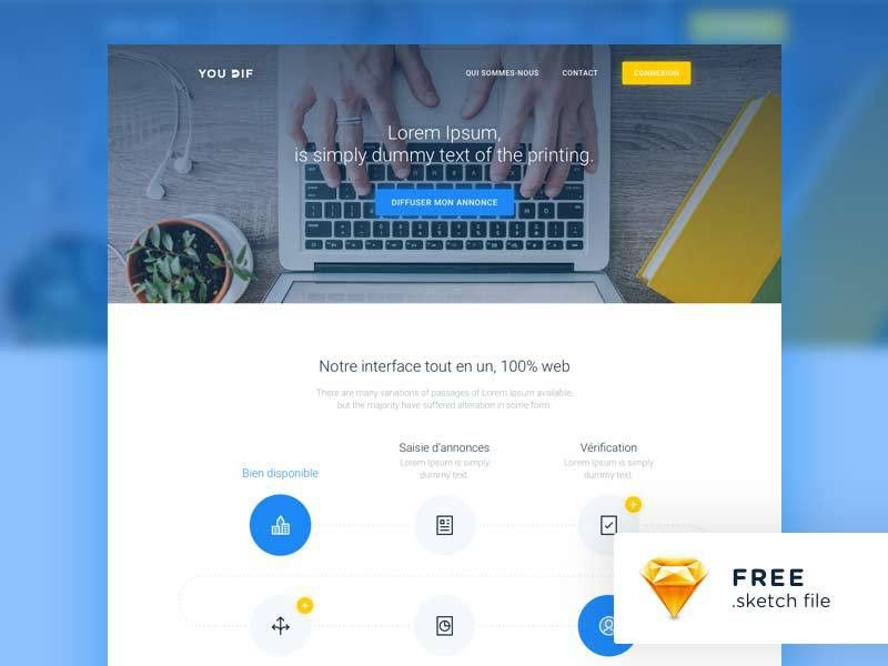 Free Landing Page Template - Sketch | DesignerMill