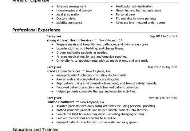 sample of caregiver resumes