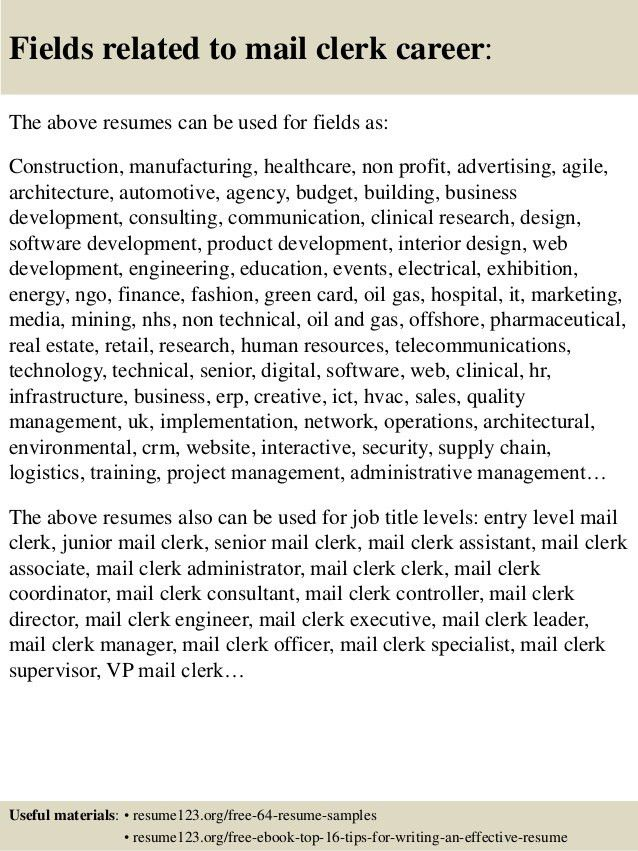 Top 8 mail clerk resume samples