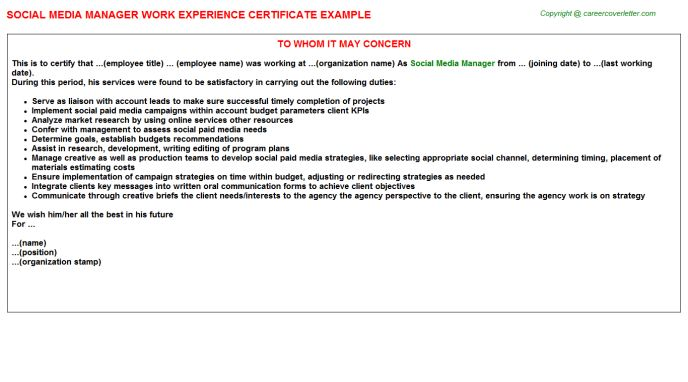 Social Media Manager Work Experience Certificate