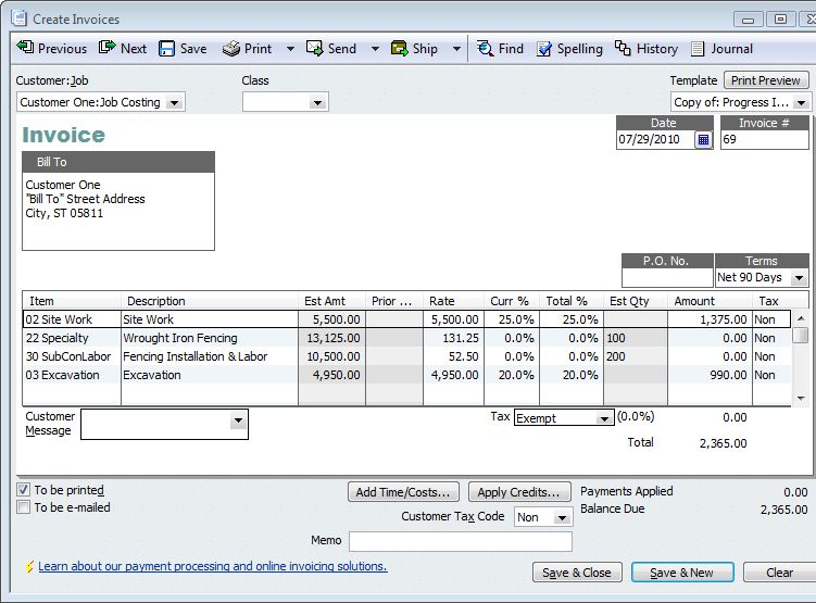 QuickBooks for Contractors Tip–Basics of Progress Invoicing ...