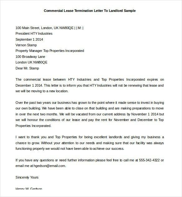 Business Lease Termination Letter | The Letter Sample