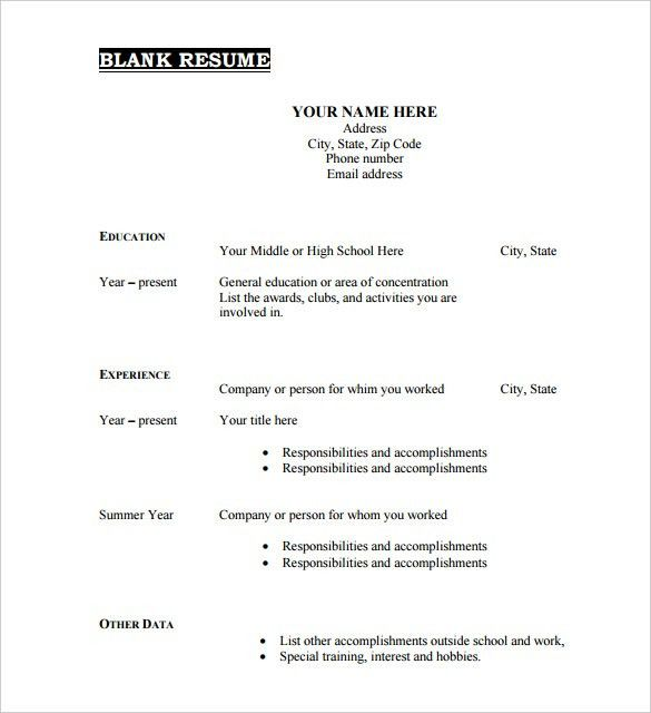 Clever Ideas Blank Resume Template 10 40 Blank Resume Templates ...