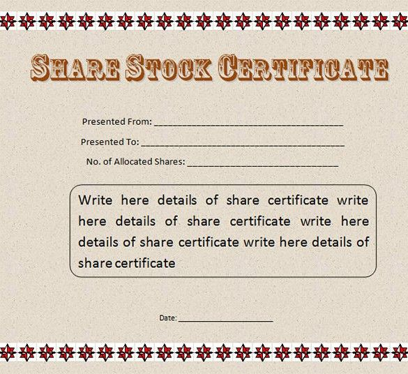 21+ Stock Certificate Templates – Free Sample, Example Format ...
