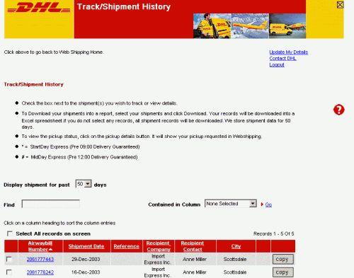 Track/Shipment History
