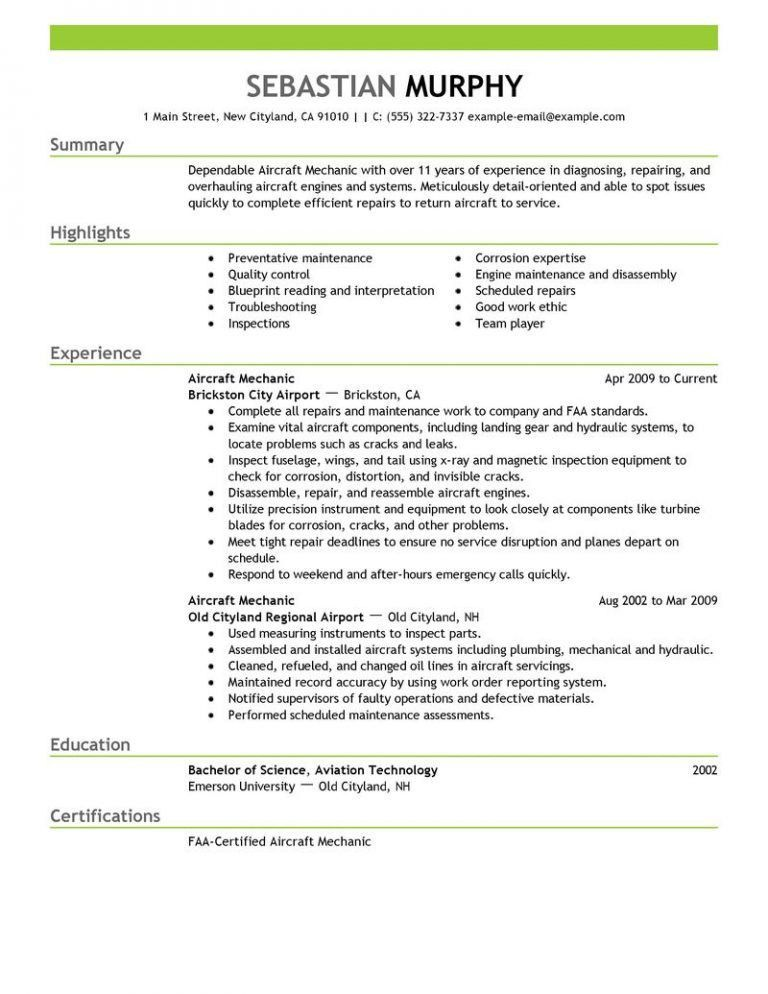 Chic Idea Aircraft Mechanic Resume 1 Best Aircraft Mechanic Resume ...