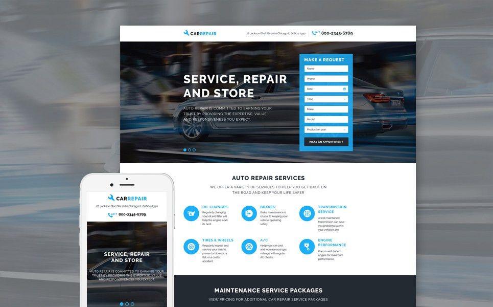 Car Repair Responsive Landing Page Template #58068
