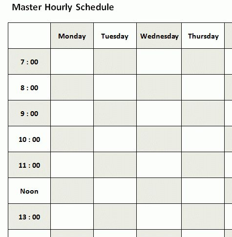 3+ hourly schedule template - bookletemplate.org