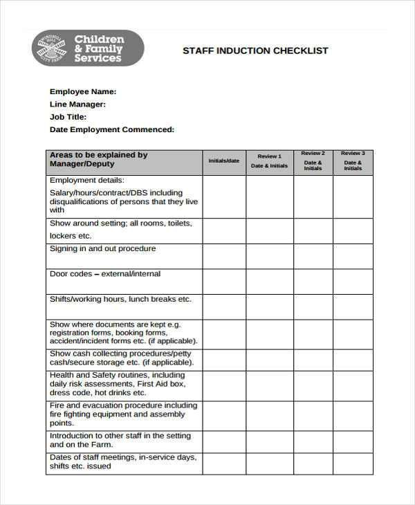 Induction Checklist Templates - 11 Free Word, PDF Format Download ...