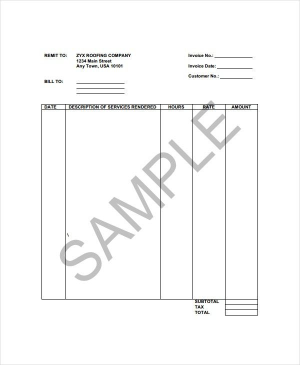 Roofing Invoice Template - 4+ Free Word, PDF Documents Download ...