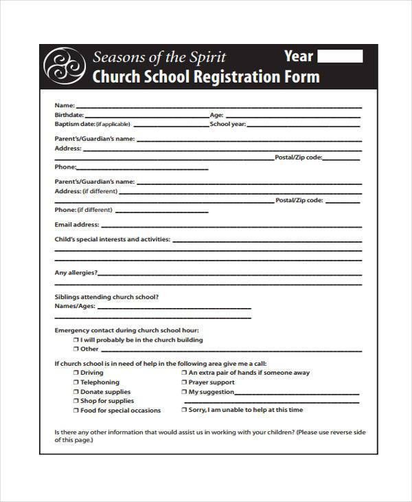 Sample Church Registration Forms - 8+ Free Documents in Word, PDF