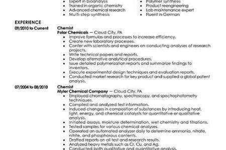 Chemist Resume - Reentrycorps