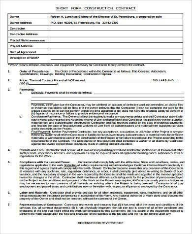 Sample Construction Short Forms - 7+ Free Documents in Word, PDF