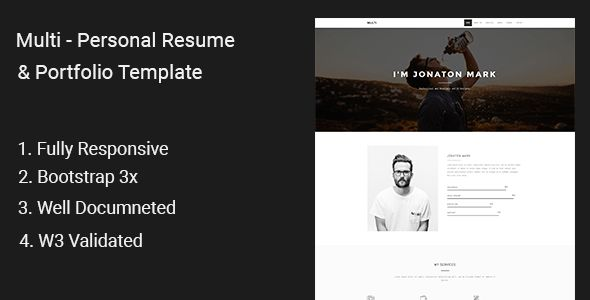 Multi - Personal Resume & Portfolio Template by CMSLab | ThemeForest