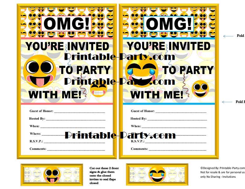 Emoji Printable Birthday Supplies   Emoticon, Smiley, Happy Face ...