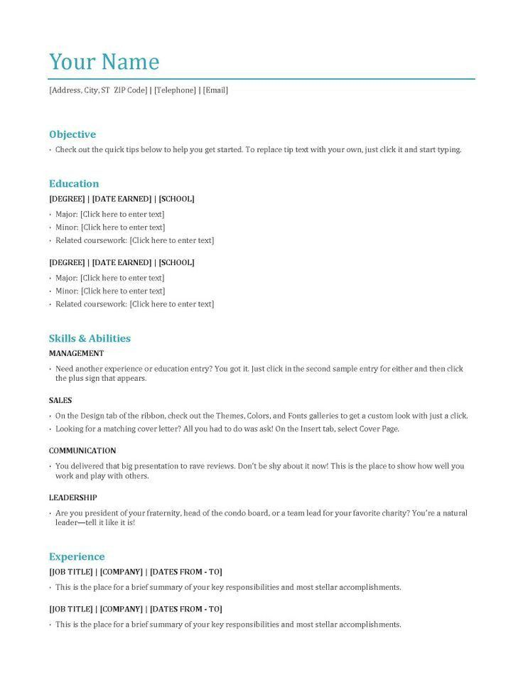 Download Resume Format | haadyaooverbayresort.com